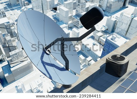 Satellite dish on the modern city. - stock photo