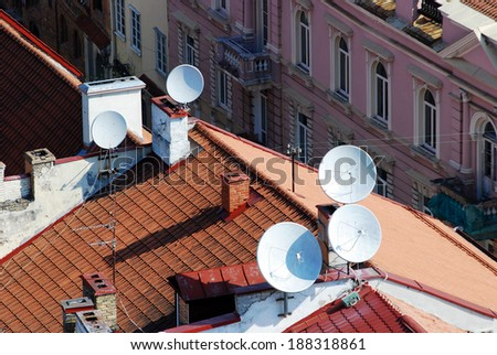 Satellite dish on the roof of a house with clipping paths. Vilnius. Lithuania. - stock photo