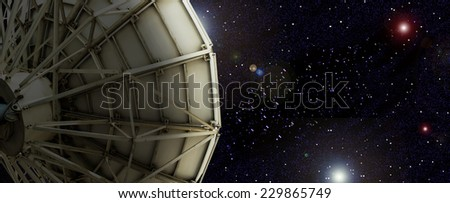 Satellite dish outside the universe. - stock photo