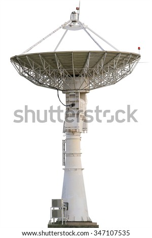 Satellite dish , radar  Isolated on white background. This has clipping path. - stock photo