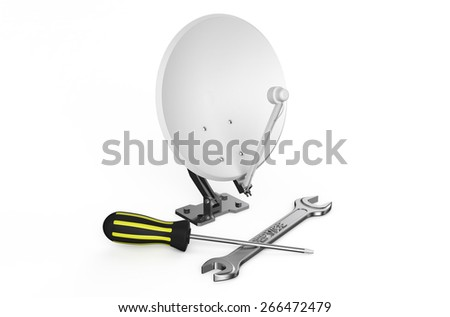 Satellite dish, service and repair concept  isolated on white background - stock photo