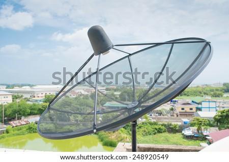 Satellite dish sky communication technology network. - stock photo
