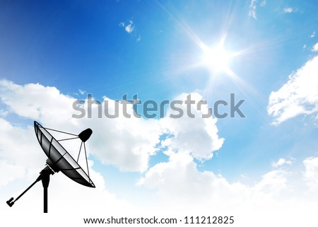 Satellite dish sky sun blue sky communication technology network image background for design - stock photo