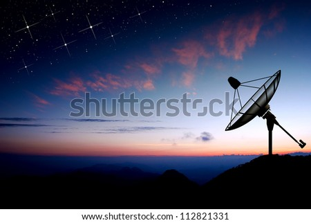 Satellite dish sky sun stars communication technology network image background for design sunset - stock photo