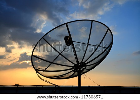 Satellite dish sky sunset - stock photo