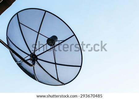 satellite dish sky sunset communication technology network - stock photo