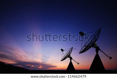 Satellite dish sky sunset communication technology network image background for design - stock photo