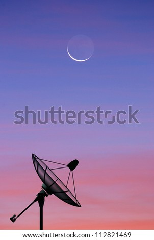 Satellite dish sky sunset communication technology network image moon star background for design