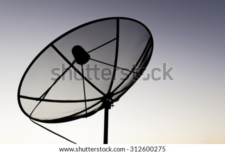 Satellite dish sky sunset communication technology network on nature background . - stock photo
