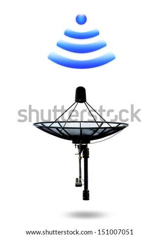 Satellite dish transfer data - stock photo