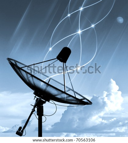 Satellite dish transfer data - blue tone - stock photo