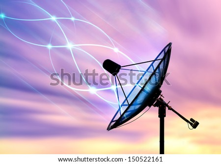 Satellite dish transfer data signals