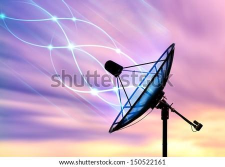 Satellite dish transfer data signals - stock photo