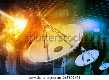 Satellite dish transmission data, abstract tech background 	 - stock photo