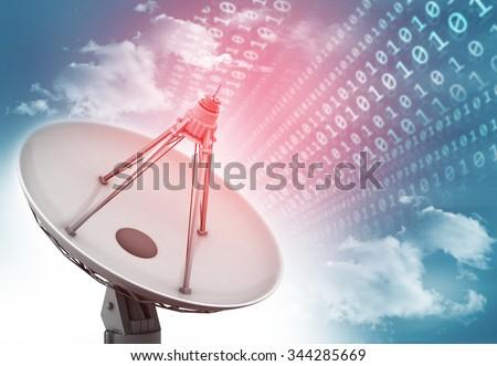Satellite dish transmission data, abstract tech background - stock photo