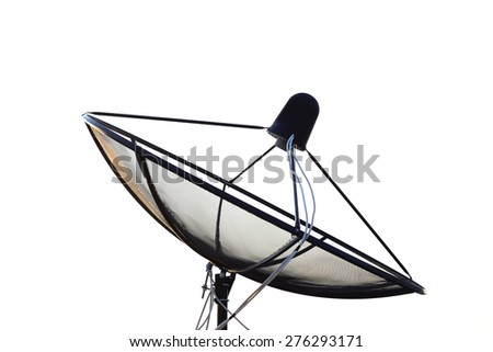 Satellite dish transmission data Isolated on white background. - stock photo