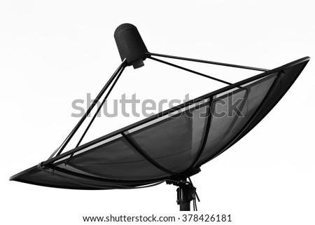 Satellite dish transmission data isolated on white background - stock photo