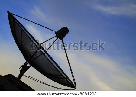 Satellite dish with blue sky - stock photo