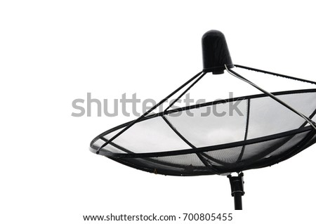 Satellite dish with white background.