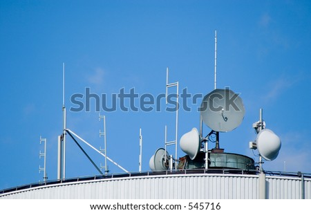 satellite dishes and antennas - stock photo