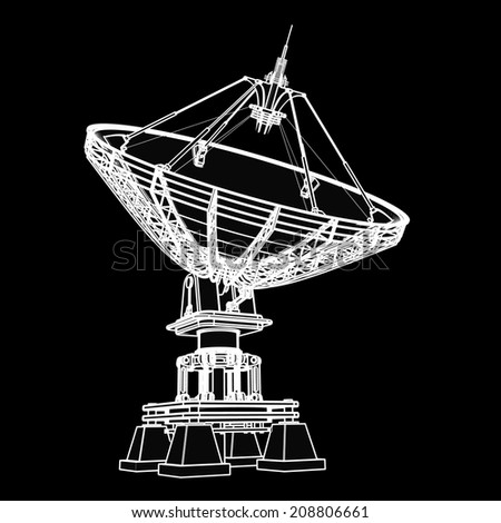 Satellite dishes antenna - Doppler radar. black cartoon illustration outline. High resolution 3D