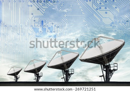 Satellite Dishes for telecommunication,modern circuit in sky background - stock photo