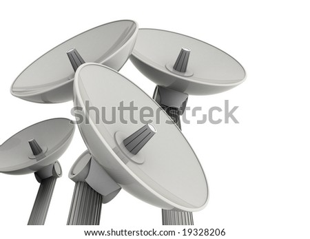 satellite dishes isolated