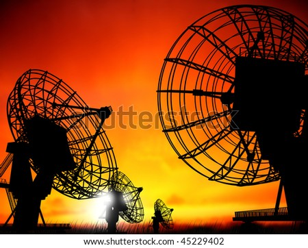 satellite dishes over sunset