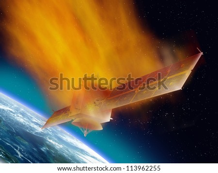 Satellite hurtling through space burning up as it enters the atmosphere - stock photo