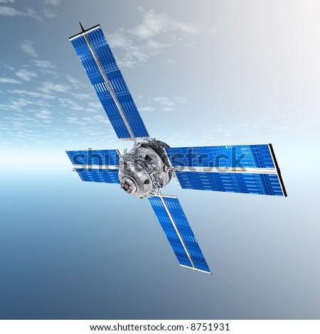 Satellite in horizon - stock photo