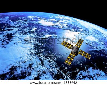 Satellite in Orbit - stock photo
