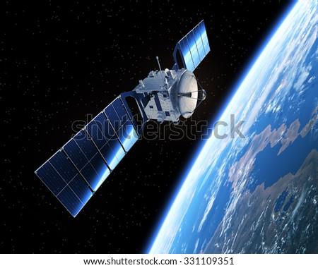 Satellite In Space. 3D Scene. - stock photo