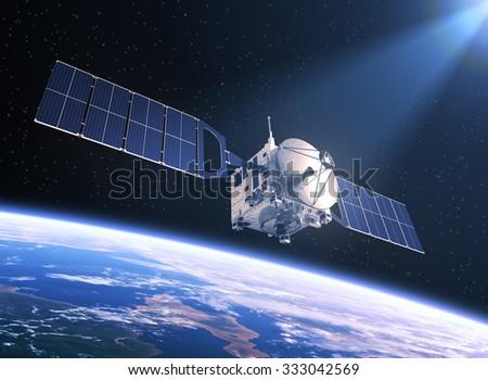 Satellite In The Rays Of Light. 3D Scene. - stock photo
