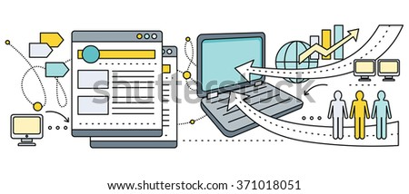 Satellite internet global network providers. Technology wireless, interconnection web, traffic online, connection and communication, wifi webpage, flow information, worldwide. Set of thin, lines icons - stock photo