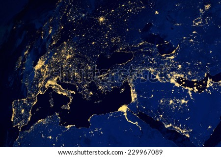 Satellite map of European cities night. N.A.S.A. Image modified. - stock photo