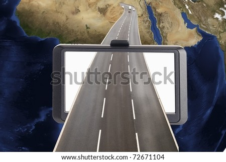Satellite navigation concept with road and globe - stock photo