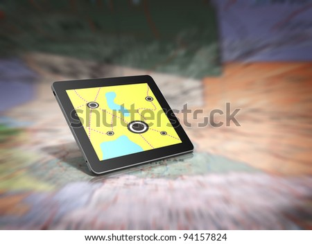 Satellite navigation with GPS Maps - stock photo