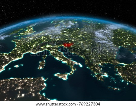 Satellite Night View Slovenia Highlighted Red Stock Illustration - World satellite night view