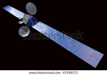 Satellite on the black background