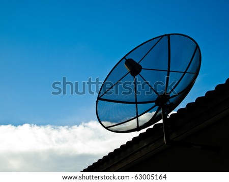 Satellite on the roof with blue sky and white cloud