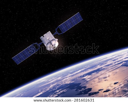 Satellite Orbiting Earth. 3D Scene. - stock photo