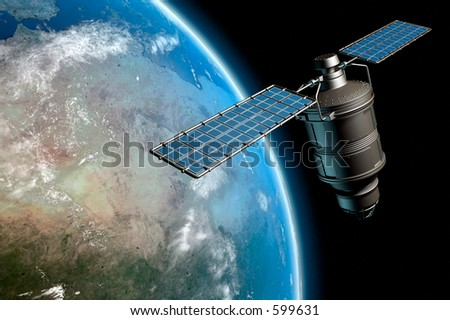 Satellite orbiting earth, photo-realistic high-res 3D rendering - stock photo