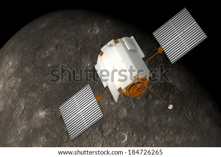 Satellite Orbiting Planet. 3D Scene. Elements of this image furnished by NASA. - stock photo