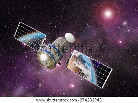 satellite orbiting the earth in the outer space -Elements of this image furnished by NASA - stock photo