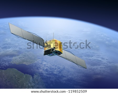 satellite over the Earth - stock photo