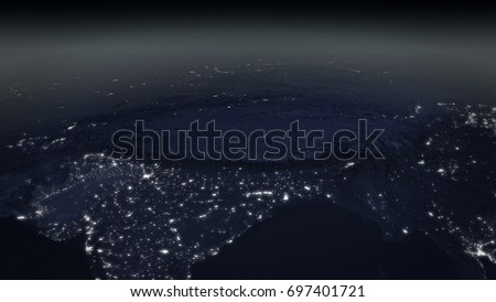 satellite Overview of Himalaya region at night