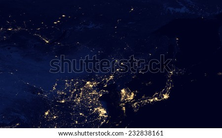 Satellite Photo of east Asia and Japan at Night.Elements of this image are furnished by NASA - stock photo