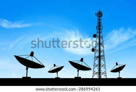 satellite shadow and phone antenna  sky background
