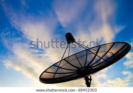 Satellite sky when the sun near the secret. - stock photo