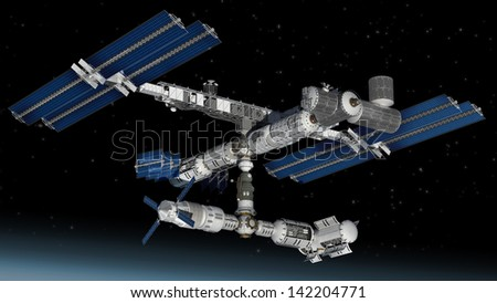Satellite Space station flying over Earth with reflective solar panels and a modular interchangeable structure.